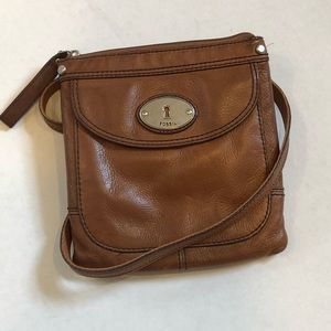 FOSSIL brown crossbody leather purse